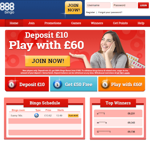888 Bingo Homepage