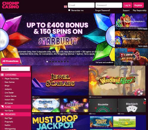 Chomp Casino Homepage