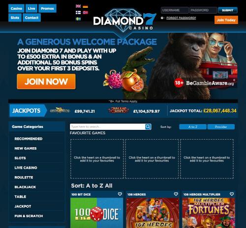 Diamond7 casino bonuses