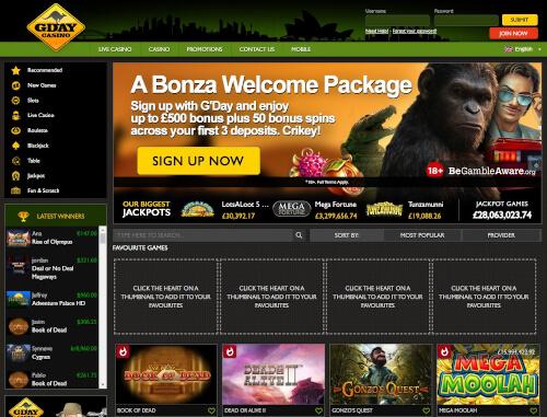Gday casino bonuses