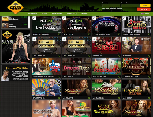 Gday live casino