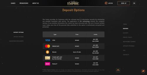 Slots Empire Banking