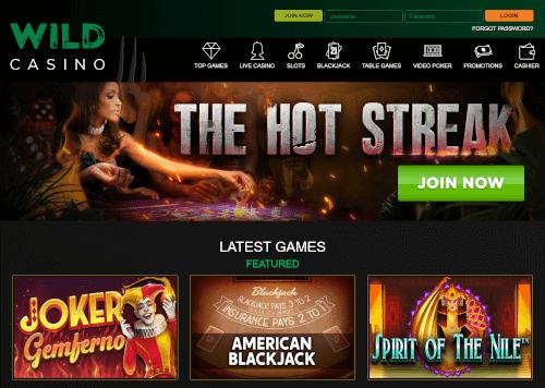 Wild Casino Homepage