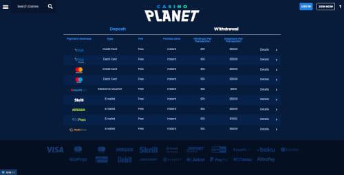 Casino Planet Banking Methods
