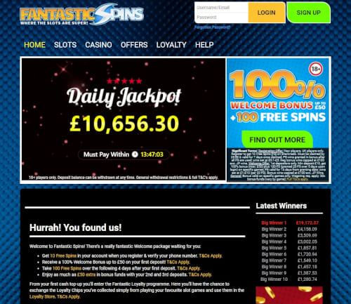 Fantastic Spins Daily Jackpot