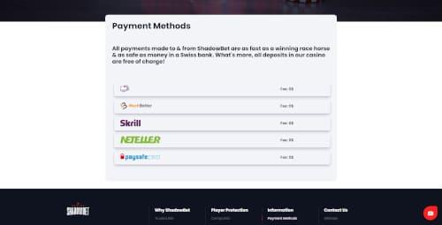 Shadowbet Banking Methods