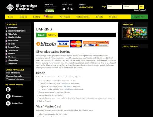 Silveredge Casino Banking